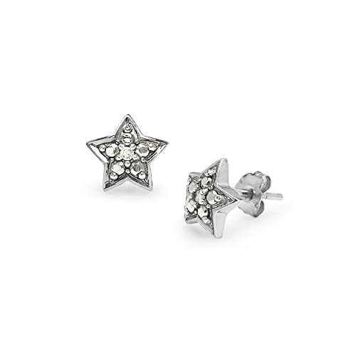 d278fc586 Image Unavailable. Image not available for. Color: Sterling Silver Diamond  Accent Small Star Stud Earrings ...