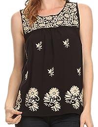 Sakkas Devika Sleeveless Tank Top Batik Blouse With Embroidery