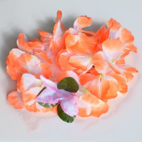 Premium Hawaiian Crown Lei- Paradise Petunia w/ Orchids in Tangerine Orange by Party N Beyond (Petunia Orchid)