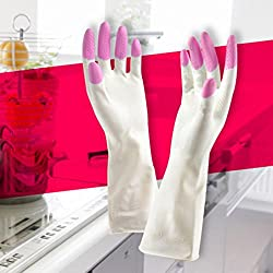 YJYdada Long Sleeve latex Kitchen Wash Dishes Dishwashing Gloves House Cleaning (A)