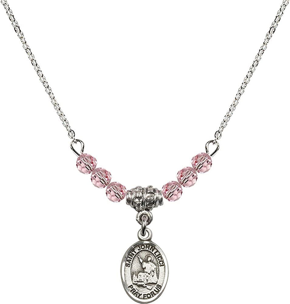 18-Inch Rhodium Plated Necklace with 4mm Light Rose Birthstone Beads and Sterling Silver Saint John Licci Charm.
