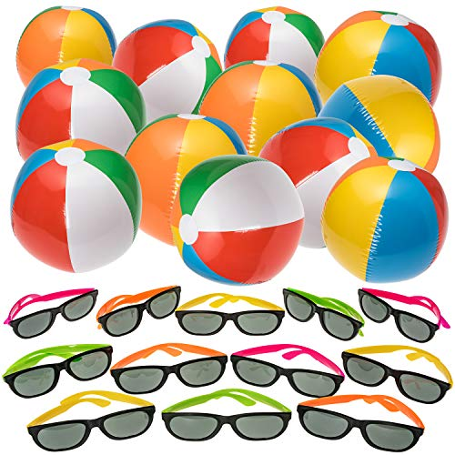 NJ Novelty Beach and Pool Party Favors - Inflatable Beach Balls and Neon Sunglasses Summer Party Set 24 Pieces Total, Rainbow Color -