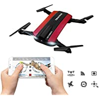 Selfie Foldable RC Quadcopter Drone with HD Camera,JXD 523W 2.4G 6-Axis WIFI FPV Altitude Function Headless Mode Photo Video Recording Live Transmission Foldable Drone