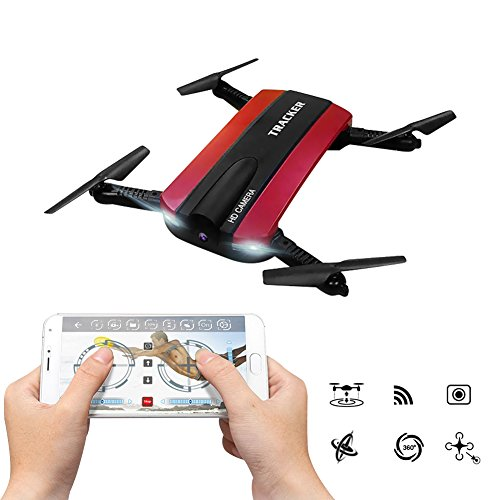 Foldable RC Quadcopter With FPV HD Camera WiFi Live Video, JXD 523W App Phone Control Drone 2.4G 6-Axis Altitude Hold 3D Flips Helicopter (Red)