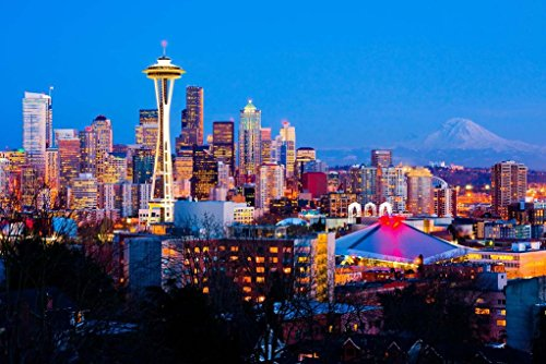 Seattle Washington Space Needle Skyline View at Night Unframed Vinyl Art Print - Perfect for indoors / outdoors. All-weather. (Vinyl Unframed)