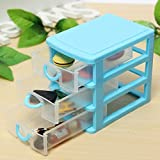 Small Bathroom Tall Cabinet plastic storage box colored Desktop Plastic Storage Box with Three Drawers Jewelry Organizer Holder Cabinets Fit For Office Home plastic storage box drawers (Blue)