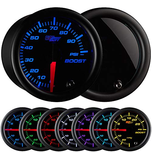 GlowShift Tinted 7 Color 100 PSI Turbo Boost Gauge Kit - Includes Mechanical Hose & Fittings - Black Dial - Smoked Lens - for Diesel Trucks - 2-1/16 52mm