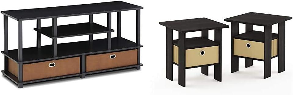 Furinno Jaya TV Stand, Black & End Table Bedroom Night Stand, Petite, Espresso, Set of 2