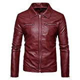 OCASHI Men Fashion Long Sleeve Turndown Leather Jacket Biker Motorcycle Zipper Outwear Coat Top Blouse for Autumn Winter (L, Red)