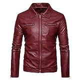 OCASHI Men Fashion Long Sleeve Turndown Leather Jacket Biker Motorcycle Zipper Outwear Coat Top Blouse for Autumn Winter (XXL, Red)