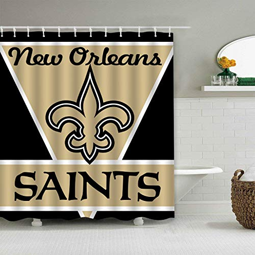 Sorcerer Custom Colourful New Orleans Saints American Tootball Team Shower Curtain Polyester Waterproof Proof for Bathroom Decoration Set with Hooks 66x72 Inches ()
