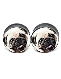 Pug face Double flared plugs Acrylic (1 Pair)