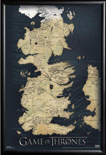 Game Of Thrones Map Tv 24x36 Dry Mount Poster Matte Back Wood Framed