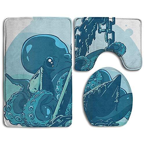 EnmindonglJHO Monster Kraken Octopus with Tentacles On Anchor 3 Piece Bathroom Rug Mat Set Soft Memory Foam Bath Carpet Contour Rug with Lid Cover (Kraken Replacement Tank)
