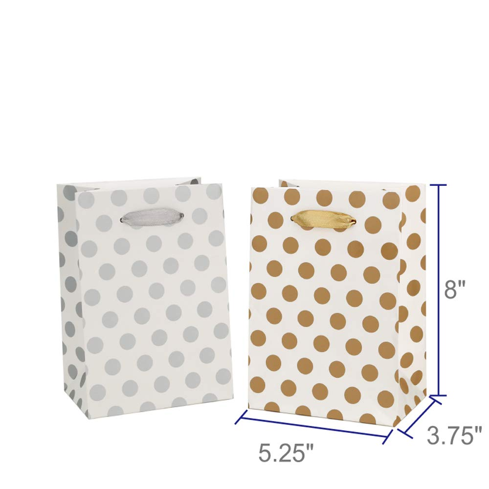 Gift Bags 5.25x3.75x8'' Paper Shopping Bags 12 Gift Boutique Small Metallic Gold Silver Gift Bags Polka Dot Gift Bags Perfect for Weddings, Birthday, Graduation, Gift Wrap Bags by BagDream (Image #4)
