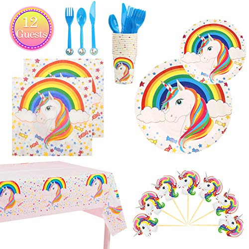 Unicorn Birthday Party Supplies Set Unicorn Themed Party Table Favors- 12 Guests