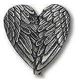 Angel Heart Wings Lapel Pin Genuine Pewter Silver Tone