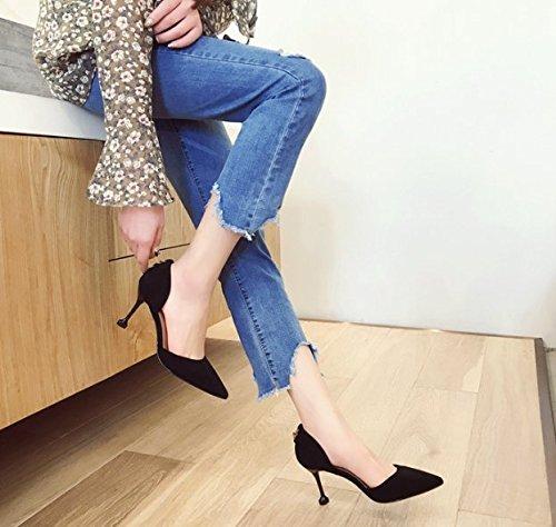 de tacones Señaló Ajunr de Taladro Moda superficial de metal Sandalias zapatos Negro altos Boca 34 elegante Los 39 Suede agua 7cm trabajo Anillo Transpirable wH4Cq0XH