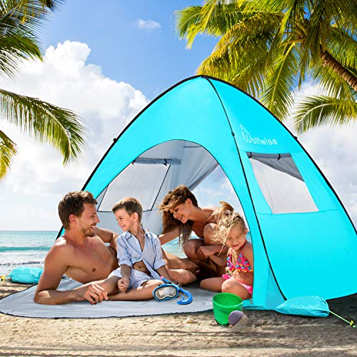 (WolfWise UPF 50+ Easy Pop Up 3-4 Person Beach Tent Sun Shelter Quick Instant Automatic Portable Sport Umbrella Baby Canopy Cabana Sun Shade)