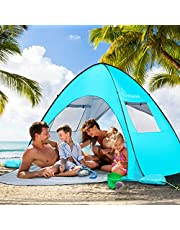 WolfWise UV-Schutz 50+ Pop up Strandmuschel 3-4 Personen Extra Light Automatisches Strandzelt mit Ausziehbarer Boden Familien Portable Beach Zelt in Outdoor Tragbar Wurfzelt