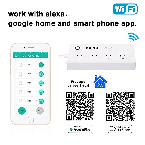 KEDSUM WiFi Smart Power Strip, Surge Protector with 4 USB Ports and 4 AC  Outlets, Smart Plug Remote Control Outlet with Timer Via App Android/IOS