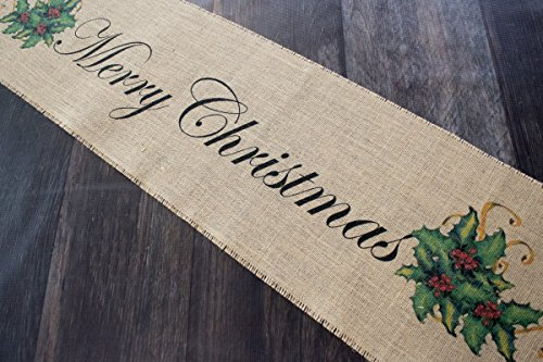 Merry Christmas burlap table runner with Holly Berries and ribbon