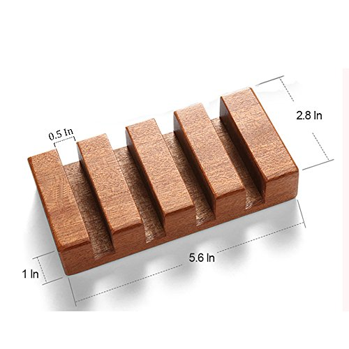 Wood Coasters Holder,Slotted Wood Coaster Stand Holds 4 Square Coasters - Raw Wood by HOPEBIRD (Image #5)