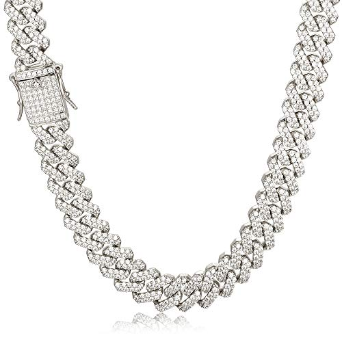 PY Bling 14K Gold White Gold Plated 12mm Hip Hop Full Iced Out Miami Cuban Link Chain Choker CZ Lab Diamond Necklace/Bracelet for Men (WG,24)