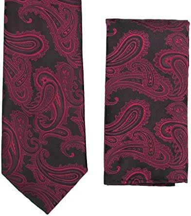 Men's Paisley Design Necktie & Matching Handkerchief Set