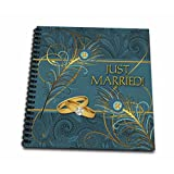3dRose db_52264_2 Peacock Just Married Wedding Rings Memory Book, 12 by 12-Inch, Teal/Gold