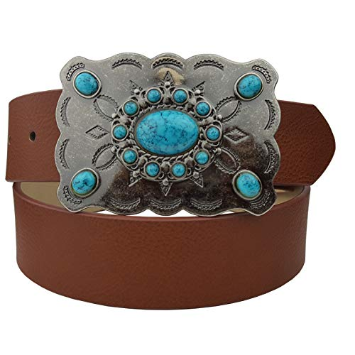 Western Turquoise Buckle With Vegan Leather Belt