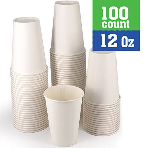 Disposable White Coffee Cups - Premium 12 Ounce Hot Paper Cups For Coffee, Espresso, Tea, Chocolate, Etc - Perfect For Gatherings, Birthday, Party and Restaurant Supplies 100 Count by Exom Essentials
