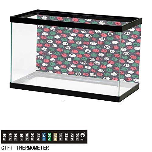 bybyhome Fish Tank Backdrop Grunge,Brushed Floral Design,Aquarium Background,24