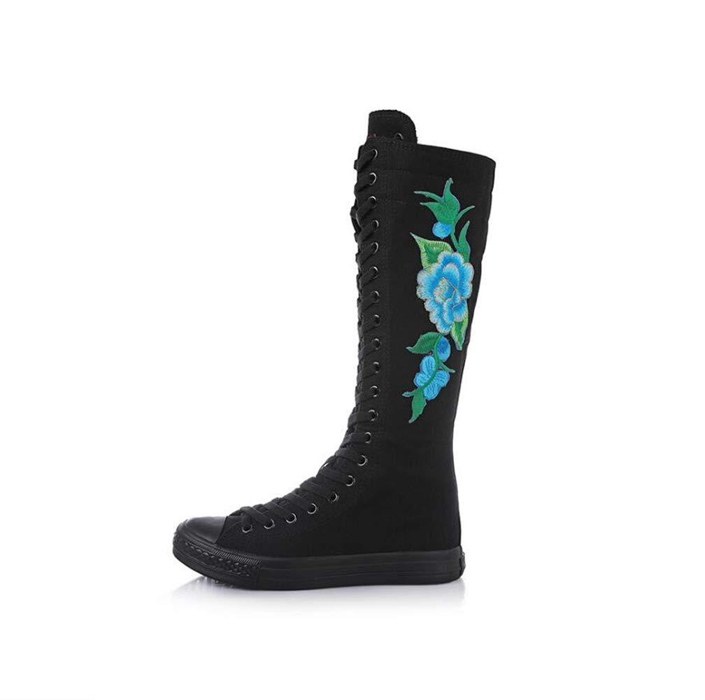mogeek Femme Confortable Haut Bottes de Chaussures Toile Confortable Chaussures Bleu à Lacets brodées Noir Bleu ead4a85 - fast-weightloss-diet.space
