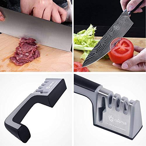 GOAMZ Aiguiseur Couteaux Cuisine Knife Sharpener 4 en 1+ Free Cut Resistant Gloves Gants(Left, XL)