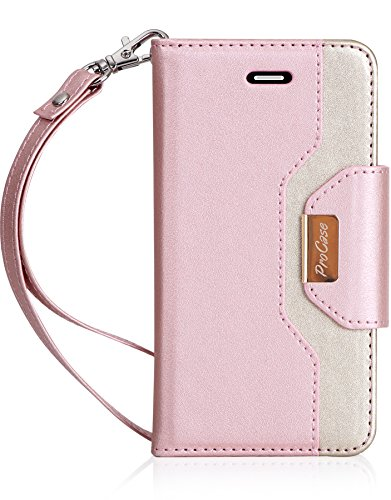 iPhone SE / 5S Case Cover, ProCase Wallet Flip Case, with Wristlet Strap, Build-in Card Slots and Mirror, Stylish Slim Stand Cover for Apple iPhone SE / 5S (Pink)