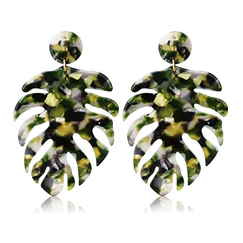 Large Leaf Earrings - Acrylic Earrings for Women Drop Dangle Leaf Earrings Resin Minimalist Bohemian Statement Jewelry (Acrylic earrings Long Leopard Green)