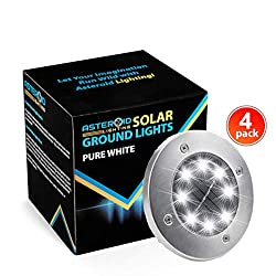 Asteroid Lighting in Ground Solar Lights Outdoor [4 Pack – Solar Ground Light ] – 8LED Solar Panel Ground Lights Outdoor – IP65 Waterproof – Auto On/Off – NiMh Battery Included – Pure White LED Light