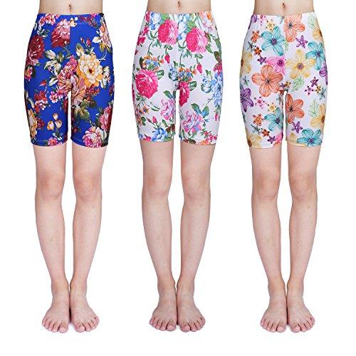 IRELIA 3 Pack Girls Bike Shorts Print Underwear for School Size 6-16 04 L by IRELIA
