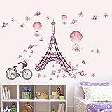 ufengke home Torre Eiffel Romántica de París Pegatinas de Pared Mariposas Rosa, Globo de Aire Caliente Bicicleta Decorativo Extraíble DIY Vinilo Pared Calcomanías Sala de Estar, Dormitorio