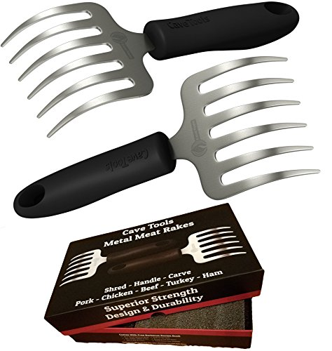 (Cave Tools Pulled Pork Shredder Claws - Stainless Steel BBQ Meat RAKES - Shredding Handling & Carving Food from Grill Smoker or Slow Cooker - Metal Barbecue & Crock Pot Handler Accessories)