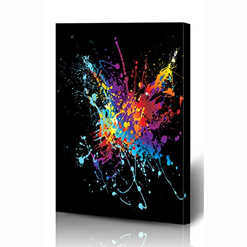 Ahawoso Canvas Prints Wall Art 12x16 Inches Paint Blue Splatter Colourful Bright Ink Splat Shape Purple Splash Abstract Black Spatter Spot Drip Wooden Frame Printing Home Living Room Office Bedroom