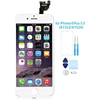 Full Assembly for iPhone 6 Plus Screen Replacement LCD Touch Digitizer Display with Front Camera Facing Proximity Sensor+ Ear Speaker+ Repair Tools and Screen Protector White