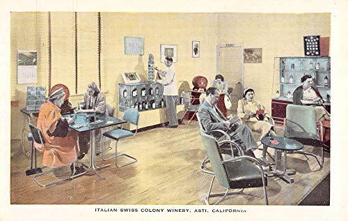 Asti California Italian Swiss Colony Winery Reception Room Postcard K101493 ()