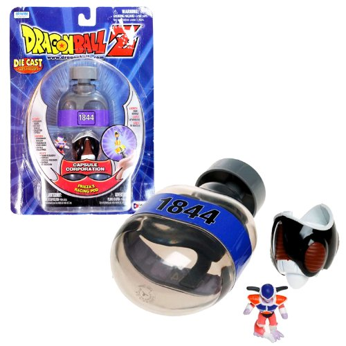 Funimation Year 2000 DragonBall Z Capsule Corporation Series 1-1/2 Inch Tall Figure Vehicle Set - FRIEZA'S RACING POD with Collector Capsule and Frieza Mini Figure