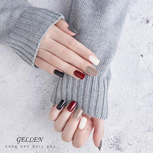 Gellen Gel Nail Polish Kit 16 Colors - With Top Coat Base Coat, Grays and Wine Popular Fall Winter Dark Colors, Solid Black White Shimmers Glitters Nail Art Colors Home Gel Manicure Set