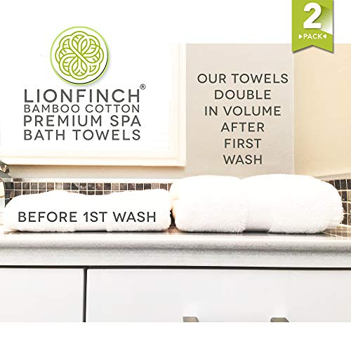 LionFinch Premium Bamboo Cotton Towels- Set of 4. Super Soft Absorbent Plus Mold Mildew Resistant. 54 inches Long 27 inches Wide. Easy to Wash Dry. by LionFinch (Image #2)