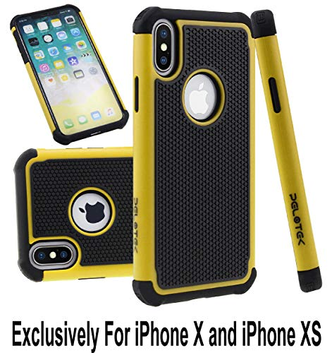 (Pelotek; iPhone X/X case, iPhone Xs Yellow and Black Case, iPhone Xs Yellow Phone Case | Tough Armor Triple Layer Attractive Design Case | High Impact Drop Protective Hybrid Luxury Cover (Yellow))