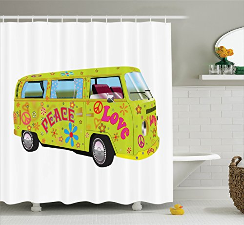 Ambesonne 1960s Decorations Collection, Hippie Van with Curtains and Flowers Bus Wagon (Daisy 04 Color)