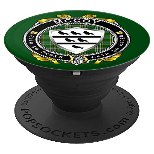 McCoy Irish Shield with Irish National Tartan - PopSockets Grip and Stand for Phones and Tablets